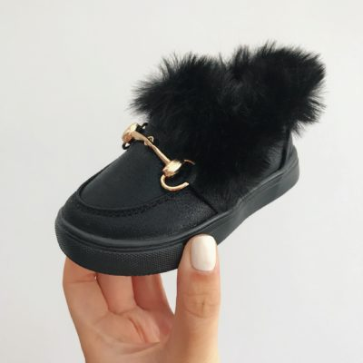 Itty Bitty Black Fur Loafers