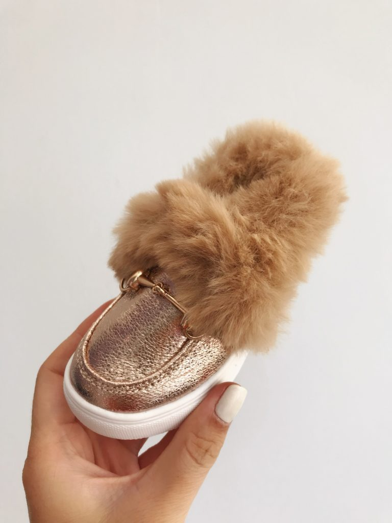 Itty Bitty Champagne Gold Fur Loafers