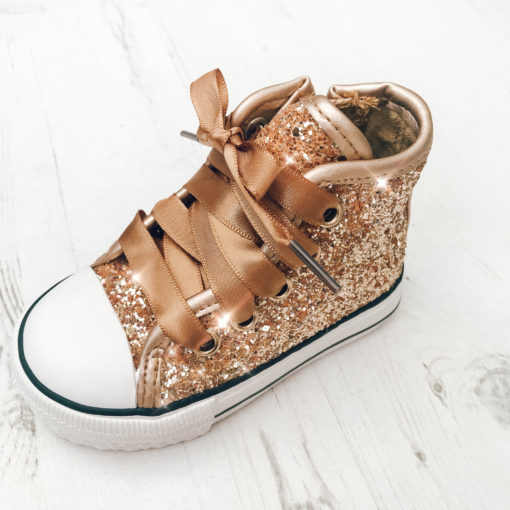 Itty Bitty Girls Glitter Gold High Top Trainers