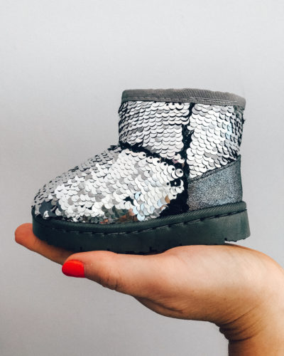 Itty Bitty Silver Sparkle Snuggle Boots