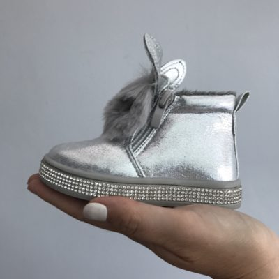 Itty Bitty Silver Diamante Fur Bunny Boots