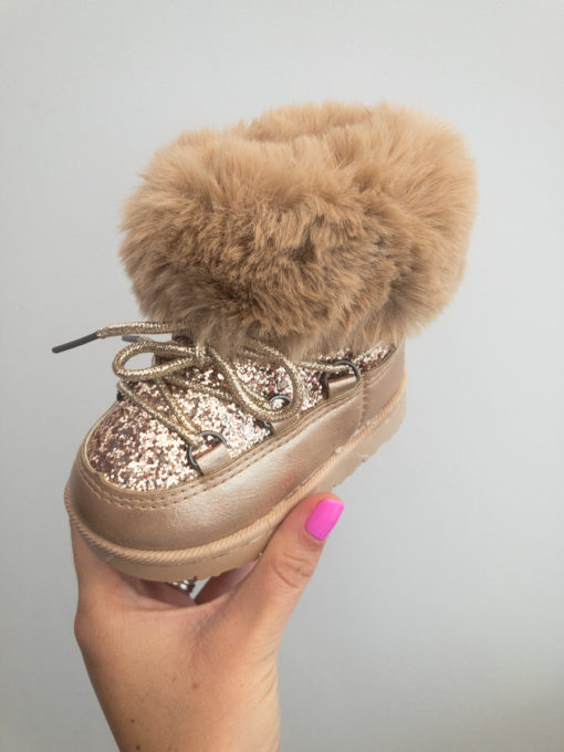Itty Bitty Gold Sparkle Snow Boots