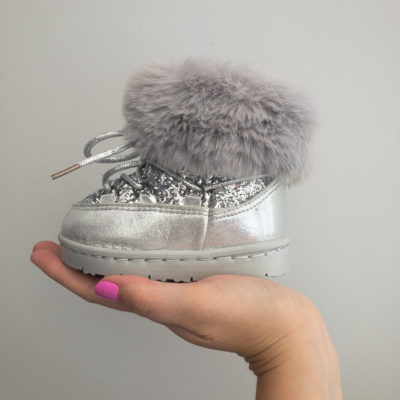Itty Bitty Silver Sparkle Snow Boots