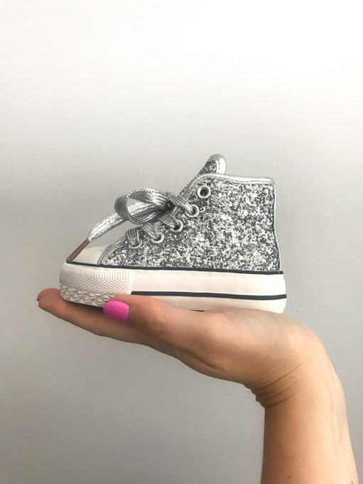 Itty Bitty Girls Glitter Silver High Top Trainers