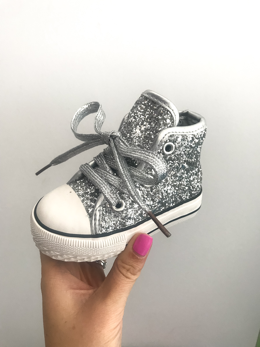 25f1335d6c3a Itty Bitty Girls Glitter Silver High Top Trainers – Baby Boutique ...