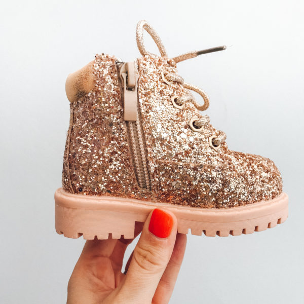 Itty Bitty Rose Gold Sparkle Winter fur boot