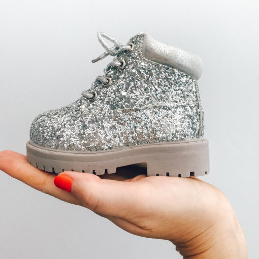 Itty Bitty Silver Sparkle Winter fur boot