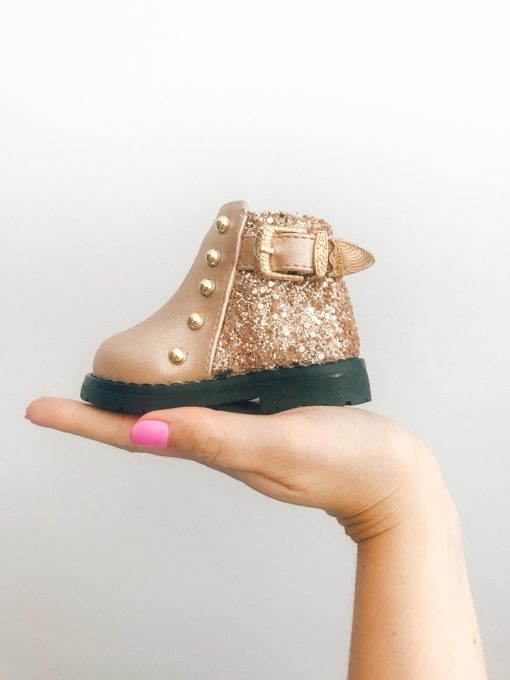 Itty Bitty Rose Gold Sparkle Boots