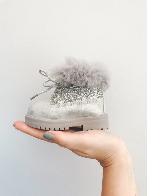 Itty Bitty Silver Winter Sparkle fur boots