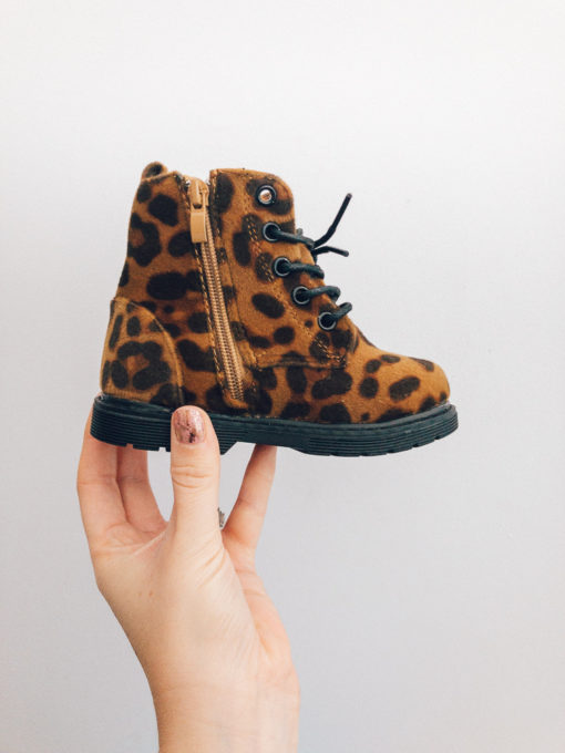 Itty Bitty Leopard Print Suede Fur Boots