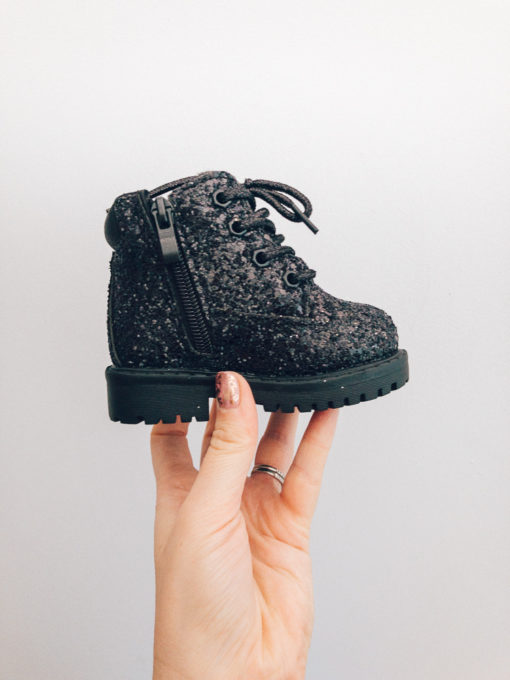 Itty Bitty Black Sparkle Winter fur boots