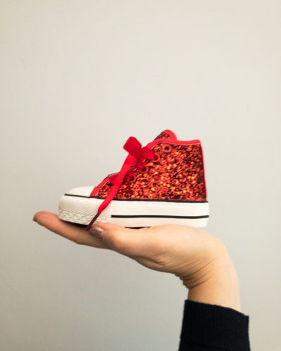 Itty Bitty Limited Edition Christmas Red Glitter High Top Trainers