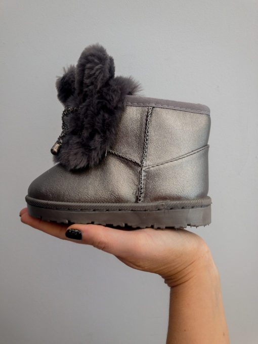 Itty Bitty Limited Edition Dark Grey Bunny Bow Fur Boots