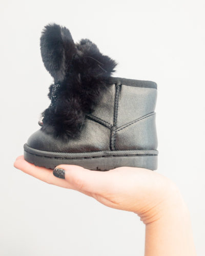 Itty Bitty Limited Edition Black Bunny Bow Fur Boots