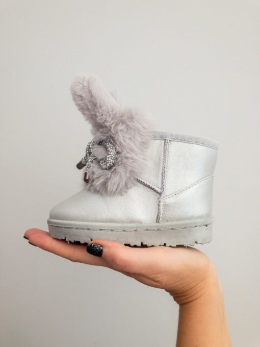 Itty Bitty Limited Edition Silver Bunny Bow Fur Boots