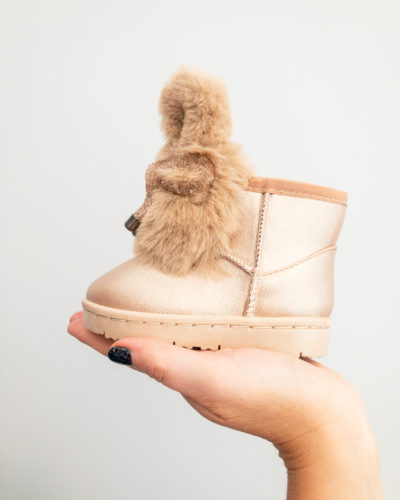 Itty Bitty Limited Edition Champagne Bunny Bow Fur Boots