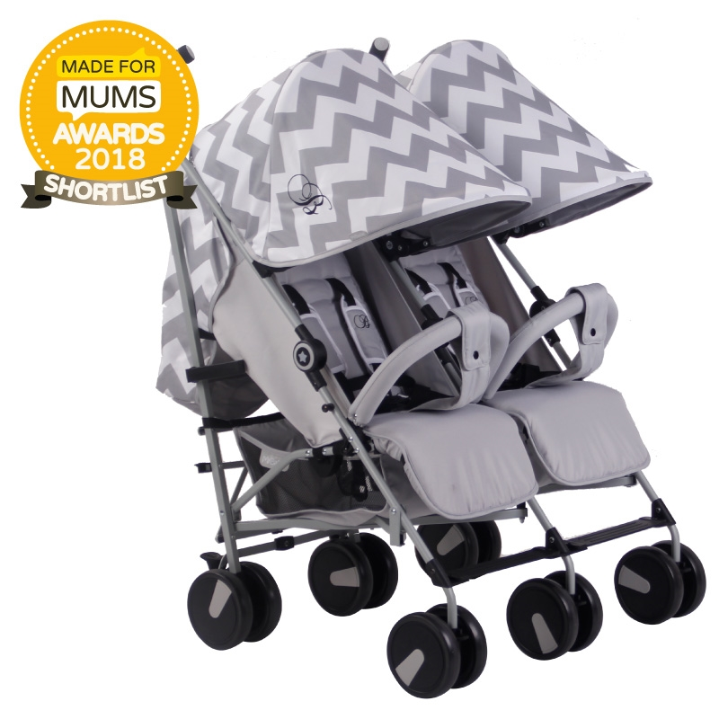 billie faiers mb22 grey chevron twin stroller pushchair. Black Bedroom Furniture Sets. Home Design Ideas