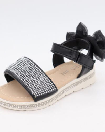 Darcie Diamante Black Bow Sandals