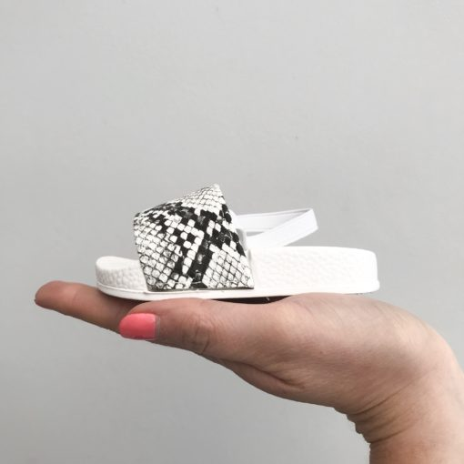 Itty Bitty White Python Print Sliders