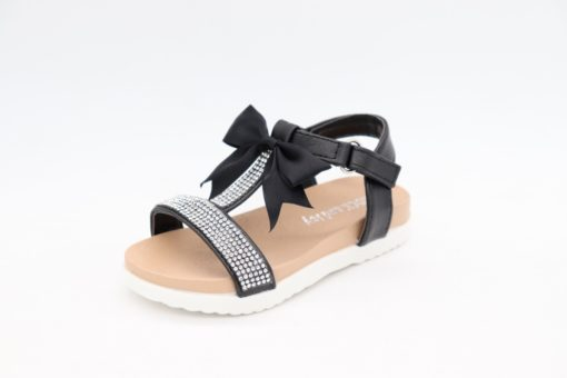 Paloma T Bar Diamante Black Bow Sandals