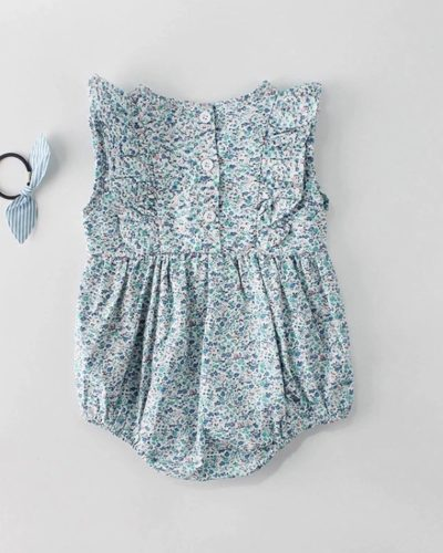 Itty Bitty Blue Ditsy Floral Romper
