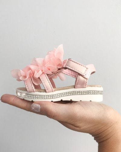 Dee Diamante Pink Ruffle Sandals