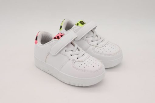 Girls White & Pink Leopard Print Boeing Trainers
