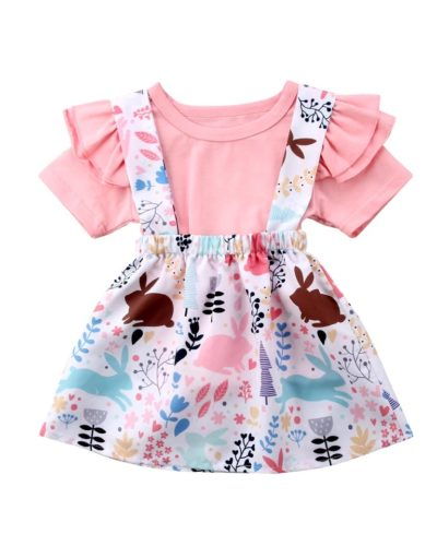 Itty Bitty Ruffle Top and Floral Pinafore Set