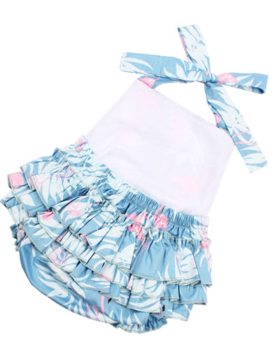 Itty Bitty Baby Blue Flamingo Summer Romper