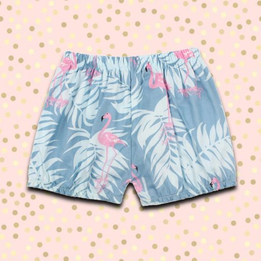 Itty Bitty Baby Blue Flamingo Summer Shorts