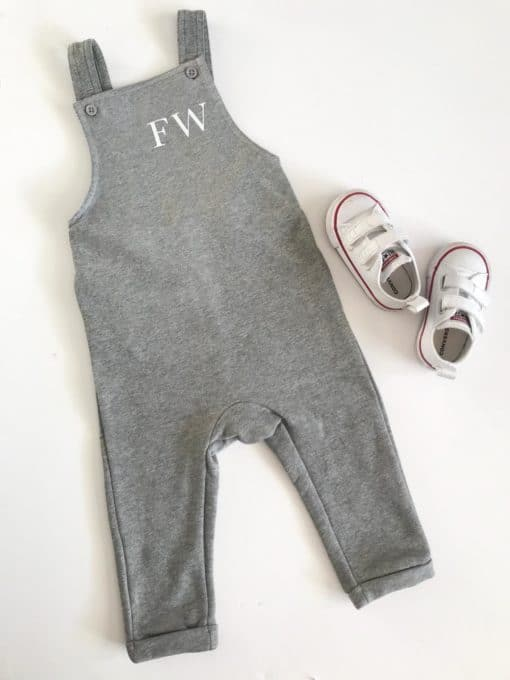 Itty Bitty Grey Personalised Dungarees
