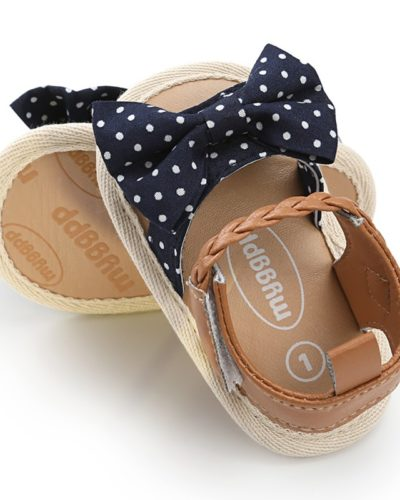 Itty Bitty Baby Girls Bow Spot Blue Sandals