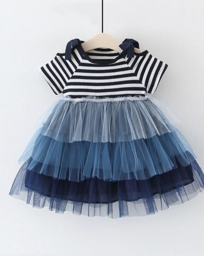 Itty Bitty Blue Stripe Tutu Princess Dress