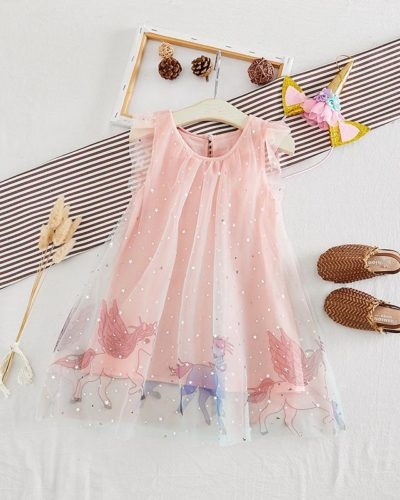 Itty Bitty Magic Unicorn Pink Princess Dress