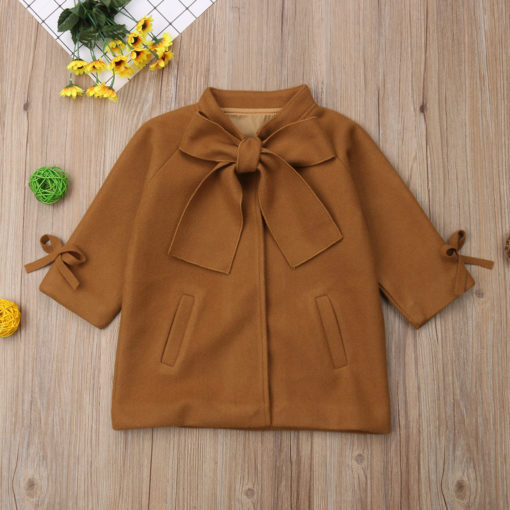 Itty Bitty Brown Wool Bowknot Coat