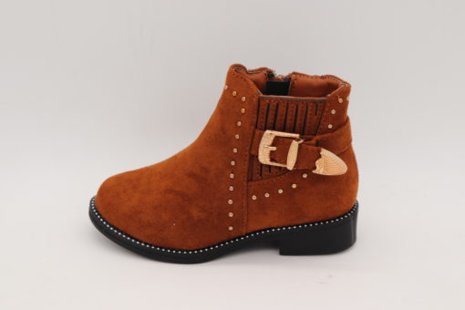 Itty Bitty Gingerbread Suede Rockstar Buckle Boots