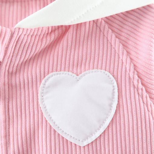 Itty Bitty Pink Heart Corduroy Hooded Jacket