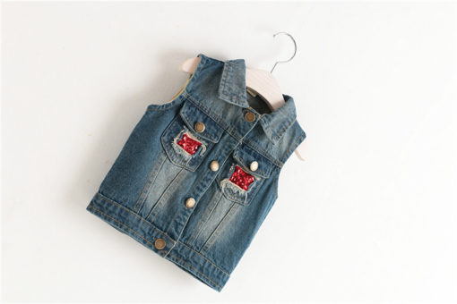 Itty Bitty Sparkle Owl Denim Jacket
