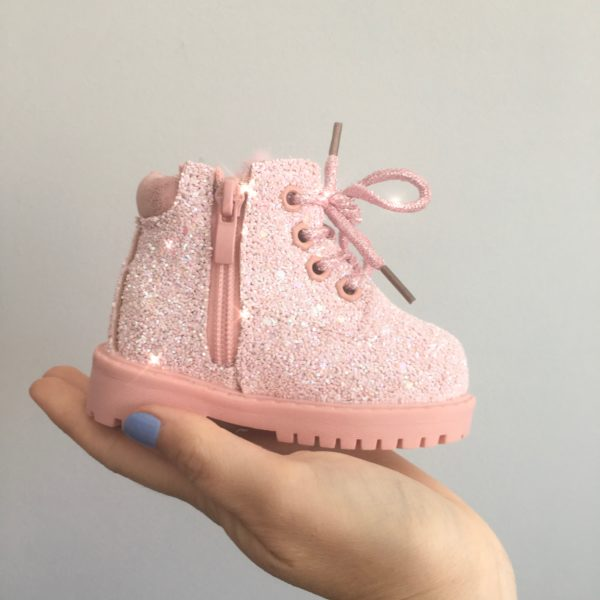 Itty Bitty Candy Pink Sparkle Winter fur boots