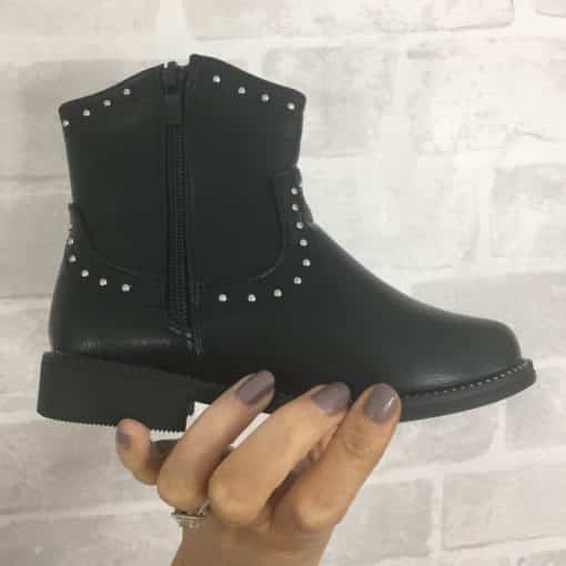 Itty Bitty Black Studded Cowboy Boots