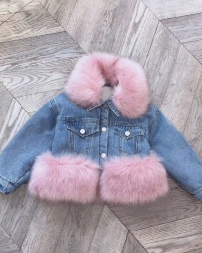 Itty Bitty Pink Denim Faux Fur Snuggle Jacket