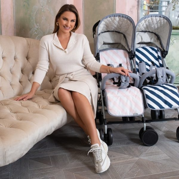 Samantha Faiers MB22 Grey Melange Double Stroller with reversible seat liners