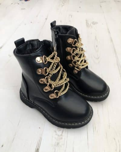 Itty Bitty Rockstar Chain Black Boots