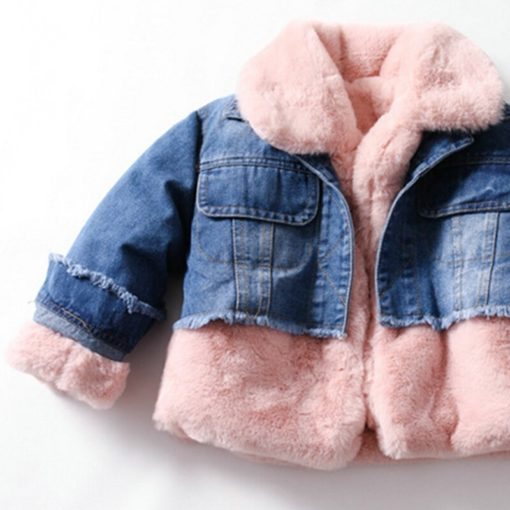 Itty Bitty Pink Faux Fur Super Snuggle Denim Jacket