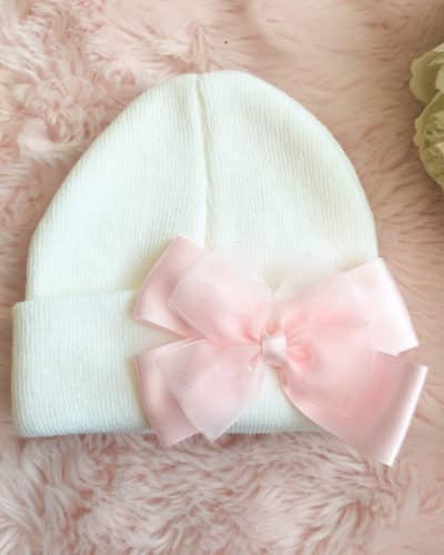 Itty Bitty White With Pink Double Bow Beanie Hat