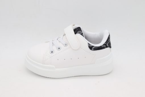 Itty Bitty Black Snakeskin Print White trainers