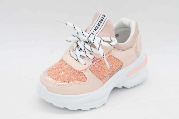 Itty Bitty Rose Gold Triple Sparkle Trainers