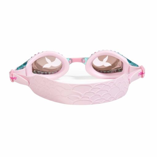 Mermaid swim goggle features a fish tail embossed silicone strap, glitter infused frame and a fish tail printed lens.