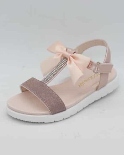 Paloma T Bar Diamante Rose Gold Bow Sandals