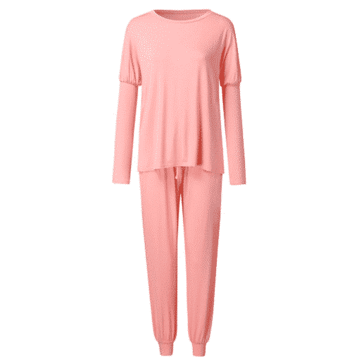 Womens Pink lounge Suit Solid Long Sleeve Top & Tied Casual Pants